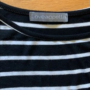 Loveappella Black and White Striped Dress